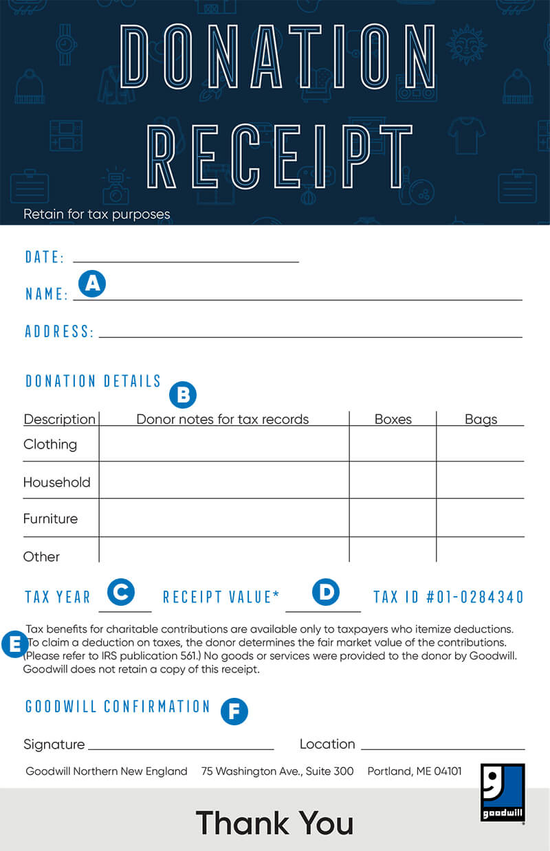 how to fill out a goodwill donation tax receipt